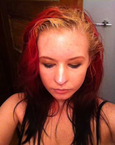 Step 1: doing roots with blond dye.
