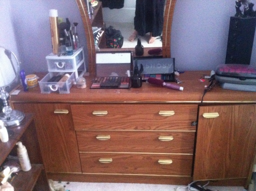 Before: I forgot to take any official before photos, so this is one of the dresser that I took for the purpose of telling Facebook it was up for grabs.